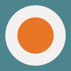 teal square with large white circle and orange circle layered like a target