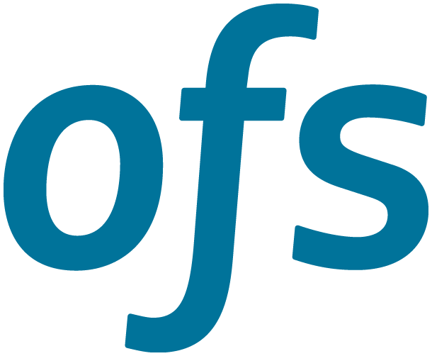 "OFS logo, sans serif blue ""o"", ""f"", and ""s"""
