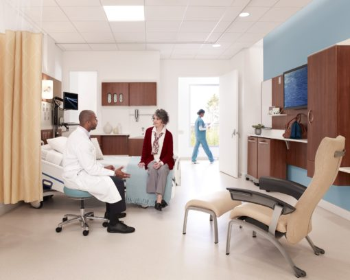 large patient waiting room with doctor sitting on stool talking to patient sitting on bed, lounge chair, wall storage, yellow curtain divider