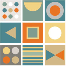 a colorful geometric pattern in oranges, yellows, greens, and blues