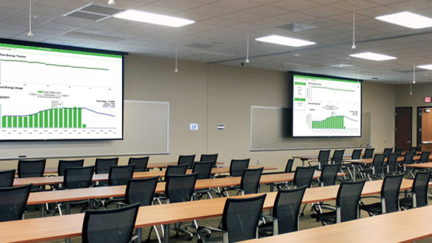large conference room with rows of tables and office chairs set up classroom-style with two screens featuring presentation with graphs and numbers in green
